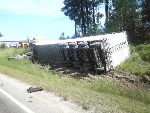 Over-turned semi-truck