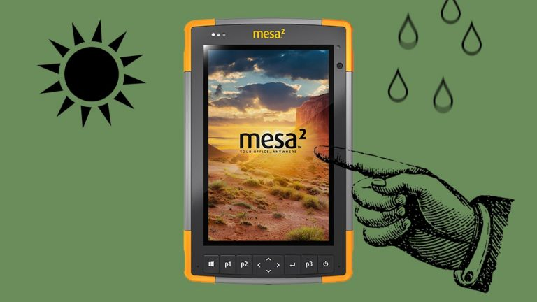 Mesa 2 touchscreen with sun and rain drops