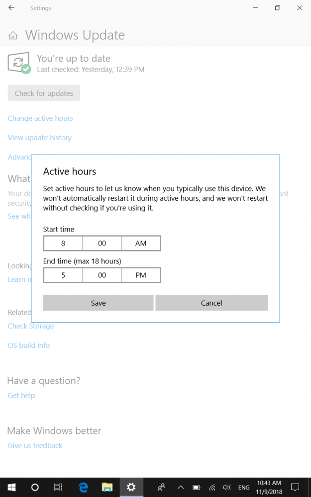 Microsoft 10 Active Hours