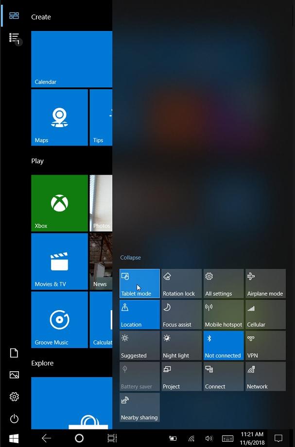 Microsoft Tablet Mode