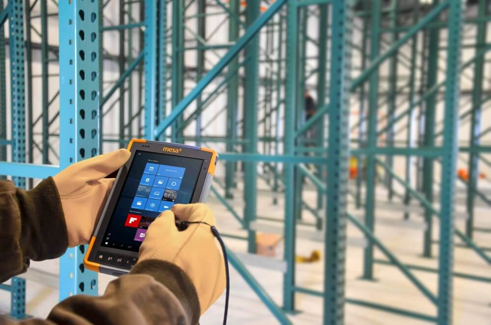 Collecting data at a construction site with Uinta Data Collection and Mapping Software on the Mesa Rugged Tablet