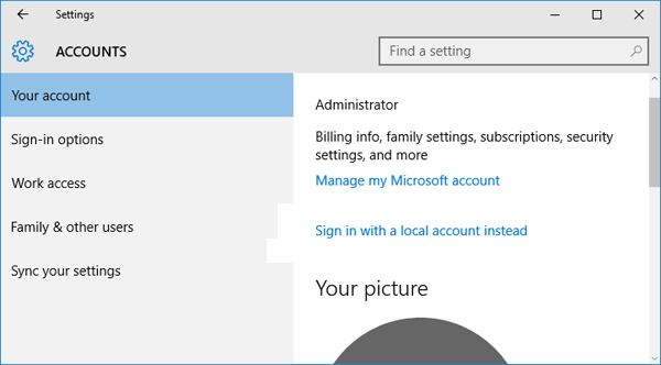 Microsoft offline account
