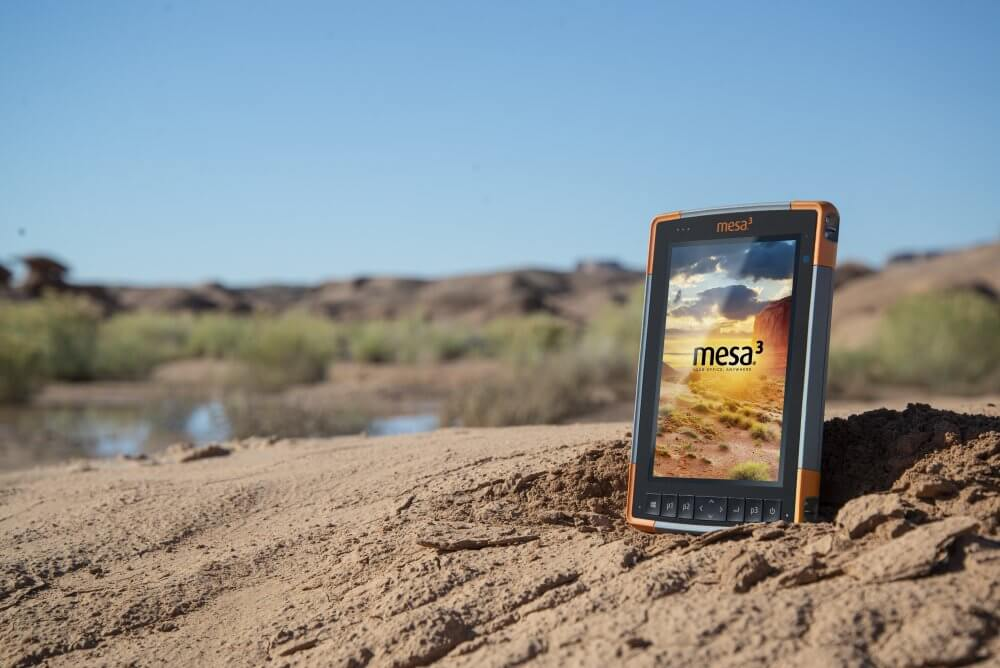 Mesa Rugged Tablet in the extreme heat of the desert, with a bright and readable display.