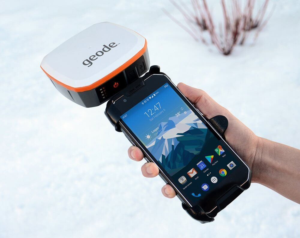 Geode Sub-meter GPS Receiver attached to the CP3 Rugged Smartphone running Android.