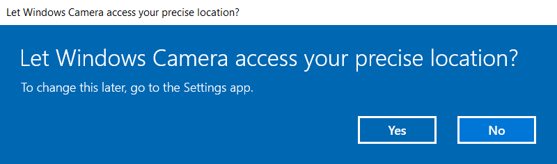 The first step in letting Windows Camera access your precise location for geotagging.