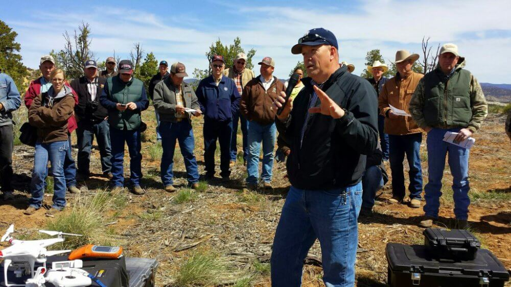 Dr. R. Douglas Ramsey discusses the use of sUAS with ranchers and land managers near Orderville, Utah in April 2014. Juniper Systems' Archer Field PC with XF101 is used for ground control.
