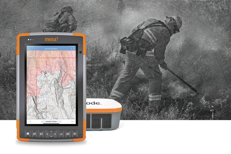 The Mesa rugged tablet with the AVENZA mapping software and Uinta mapping and data collection software running.