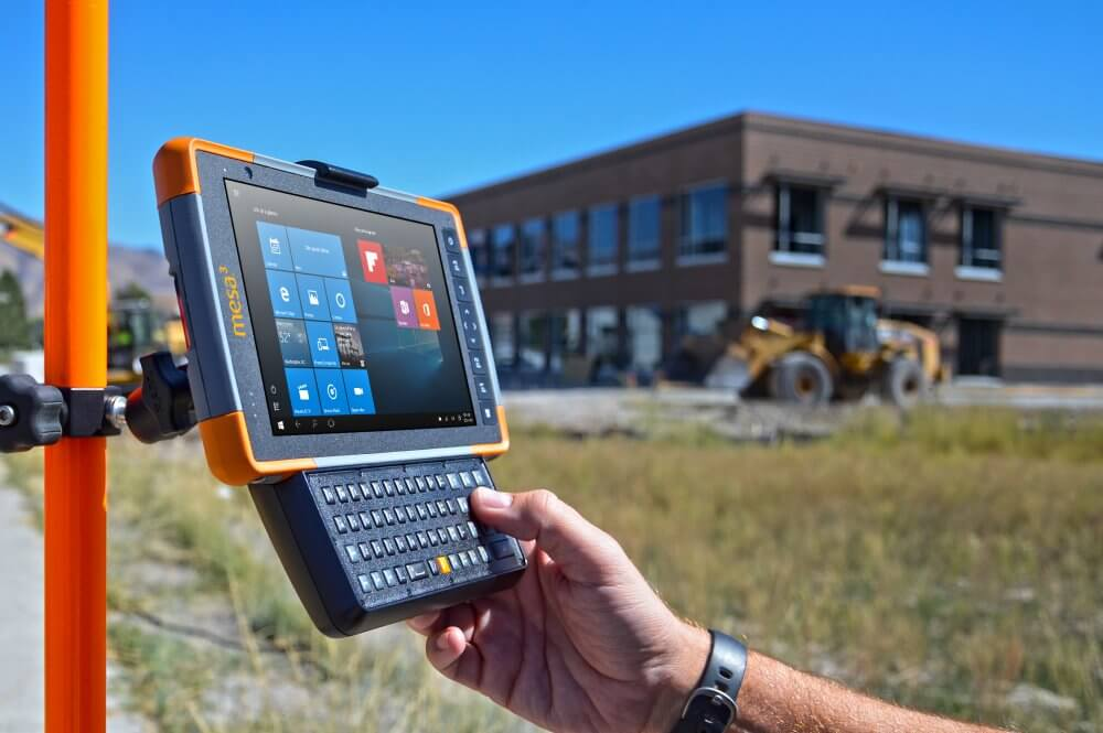 The Mesa Rugged Tablet attached to a GIS pole at a construction site