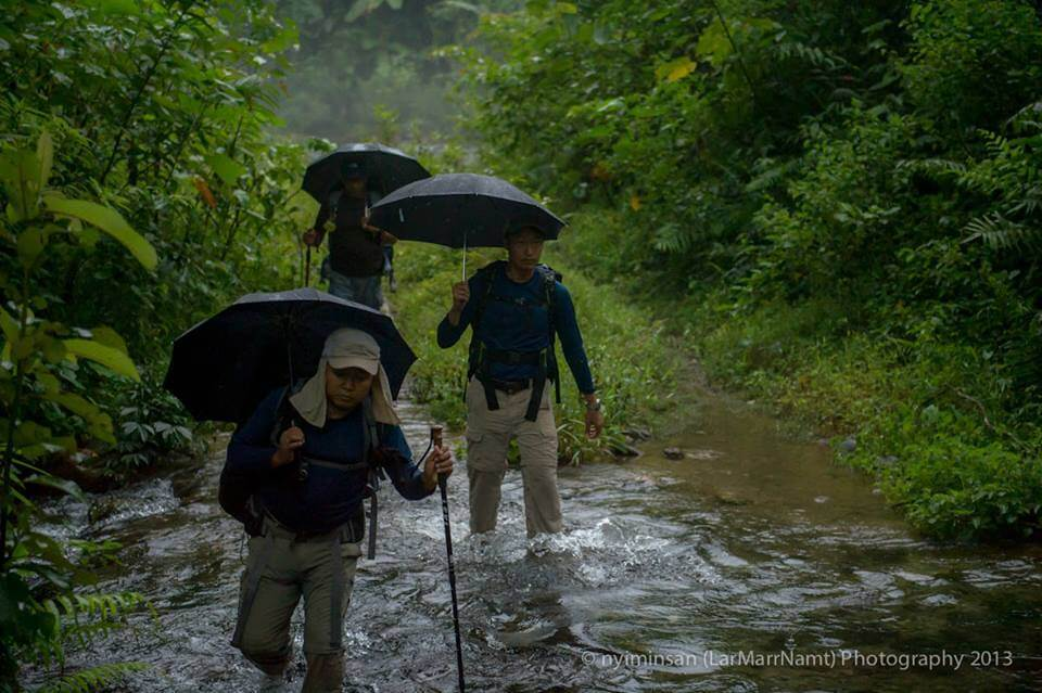 Hikers trekking through the jungle and river.